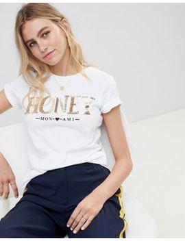 New Look Sequin Honey Slogan Tee by New Look