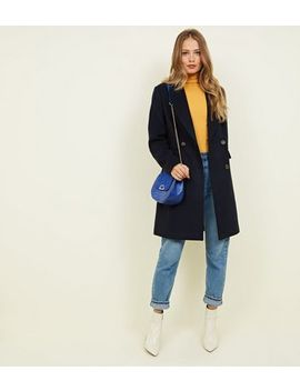 Navy Double Breasted Longline Coat by New Look