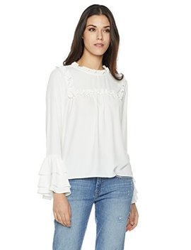 Plumberry Women's Long Sleeve Ruffle Top by Plumberry