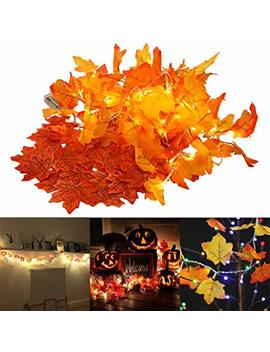 Whonline 2 Pack Thanksgiving Decorations, Total 16.4 Ft / 40 Led Maple String Lights Battery Operated Fairy Fall Autumn Garland Decorative 100pcs Artificial Maple Leaves Fall by Whonline