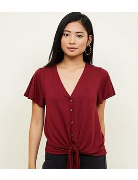 Petite Button Through Tie Front T Shirt by New Look