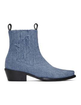 Indigo Shayne Oliver Edition Denim Chelsea Boots by Diesel Red Tag