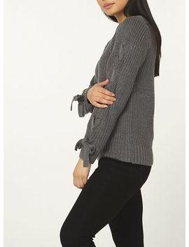 Dorothy Perkins   Petite Charcoal Tie Sleeve Jumper by Dorothy Perkins