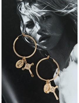 Cross & Coin Hoop Earrings by Princess Polly