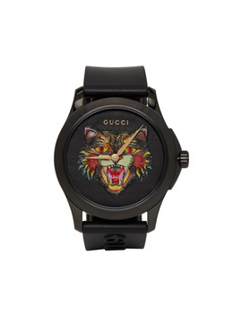 Black G Timeless Angry Cat Watch by Gucci