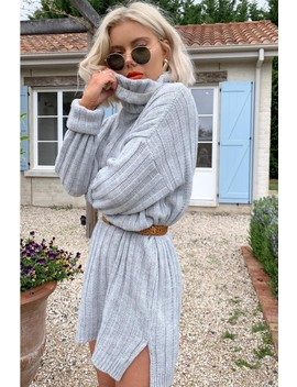 Laura Jade Grey Oversized Chunky Knitted Jumper Dress With Side Splits by In The Style