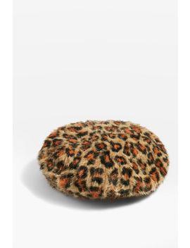 Faux Fur Leopard Print Beret by Topshop