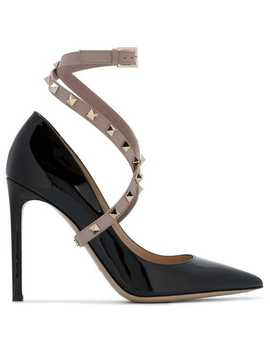 Black Rockstud 110 Patent Leather Heels by Valentino