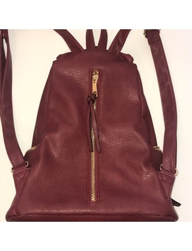 Maroon Backpack Purse Preowned/Used by No Brand