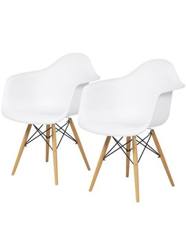 Best Choice Products Set Of 2 Mid Century Modern Eames Style Accent Arm Chairs For Dining, Office, Living Room   White by Best Choice Products