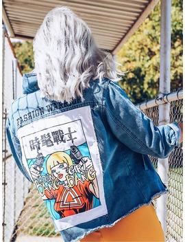 Patch Back Distressed Denim Jacket by Romwe