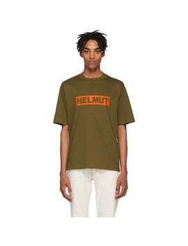 Khaki Logo Tall T Shirt by Helmut Lang