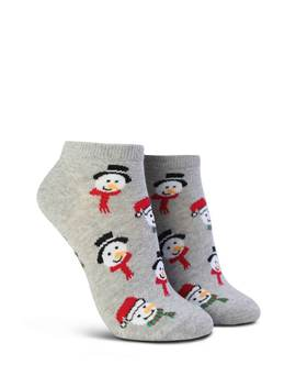 Snowman Head Print Ankle Socks by Forever 21