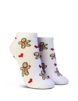 Gingerbread Man & Heart Print Ankle Socks by Forever 21