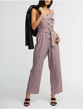 Plaid Button Up Jumpsuit by Charlotte Russe
