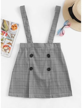Double Breasted Checked Pinafore Skirt by Romwe