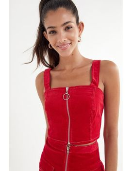 Uo Corduroy Zip Front Tank Top by Urban Outfitters
