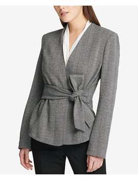 Herringbone Tie Front Jacket, Created For Macy's by Dkny