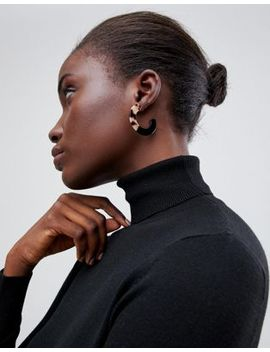 Asos Design Hoop Earrings In Split Resin And Tortoiseshell by Asos Design