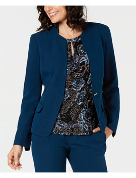 One Button Stretch Crepe Jacket by Kasper