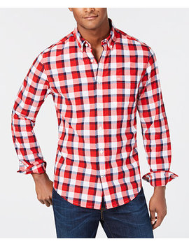 Men's Classic Fit Pat Plaid Shirt, Created For Macy's by Tommy Hilfiger