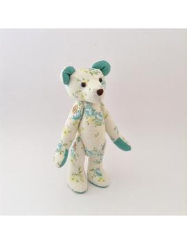 Ready To Ship! Floral Linen Teddy Bear, Girls Nursery Decor, Blue Rose Print, Linen Stuffed Bear by Etsy