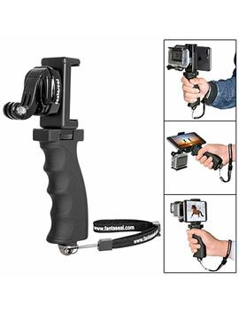 Fantaseal Ergonomic Action Camera Hand Grip Mount W/Smartphone Clip Compatible With Go Pro Grip Go Pro Holder For Go Pro Hero 7 6 5/4/3/Session Garmin Virb Xe Xiaomi Yi Sjcam Handle Grip Selfie Stick by Fantaseal
