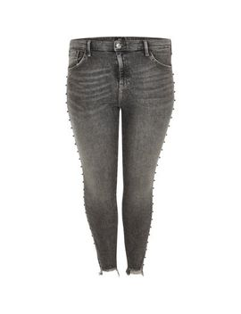 Plus Dark Grey Amelie Stud Embellished Jeans by River Island