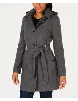 Petite Hooded Belted Coat by Calvin Klein