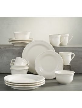 Emma Dinnerware 16 Piece Set With Cereal Bowl   White by Pottery Barn