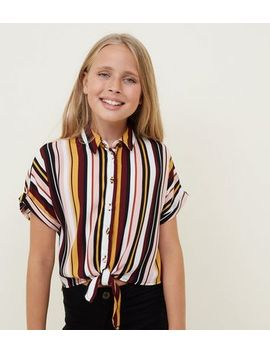 Girls Multicoloured Stripe Tie Front Shirt by New Look