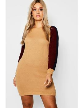 Plus Contrast Sleeve Knitted Jumper Dress by Boohoo