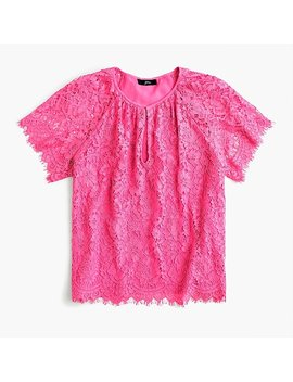 Petite Short Sleeve Lace Top by J.Crew