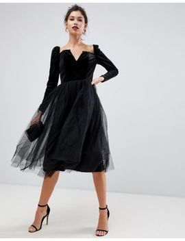 Asos Design Velvet Tulle Midi Dress by Asos Design