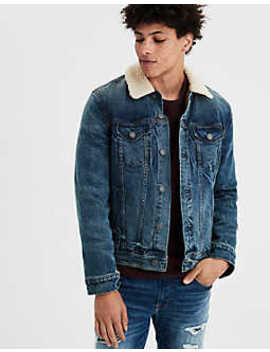 Ae Sherpa Lined Jean Jacket by American Eagle Outfitters