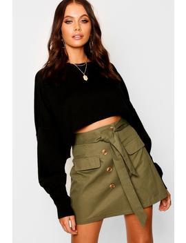 High Waist Mock Horn Button Belted Mini Skirt by Boohoo