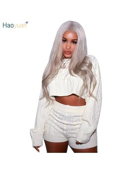 Haoyuan 2018 Autumn Winter Women Two Piece Set Sexy Club Outfits Sweater Tops And Biker Shorts Knitted Suit Clothes Tracksuit by Haoyuan