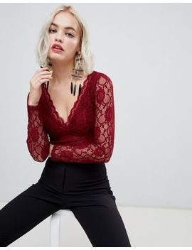 New Look Long Sleeve Lace Bodysuit In Burgundy by New Look