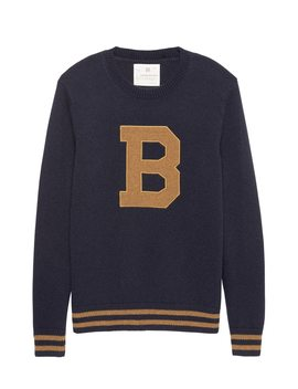 Heritage Italian Recycled Wool Blend Letterman Sweater by Banana Repbulic
