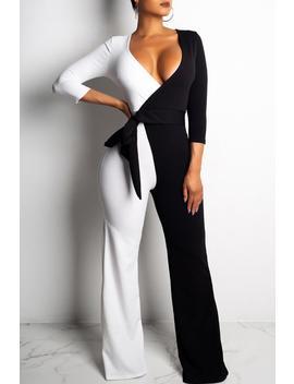 Roaso  Color Lump Patchwork Black  Jumpsuit by Roaso