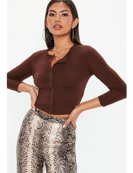 Brown Front Button Cropped Top by Missguided