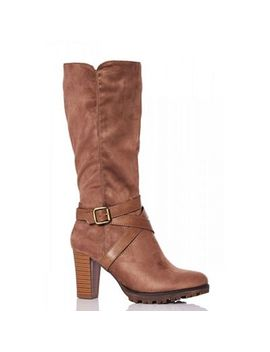 Quiz   Taupe Faux Suede Strap Calf Boots by Quiz