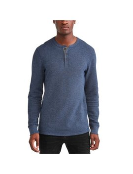 Men's Long Sleeve Thermal Henley, Up To Size 5 Xl by George