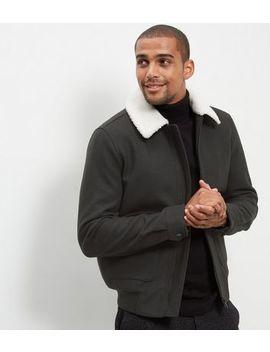 Dark Green Wool Mix Aviator Jacket by New Look