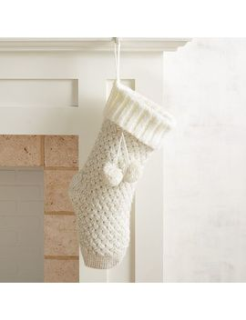 Ivory & Gold Knit Stocking by Pier1 Imports