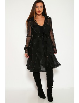 Sexy Black Netted Faux Pearl Long Sleeves Casual Coat by Ami Clubwear