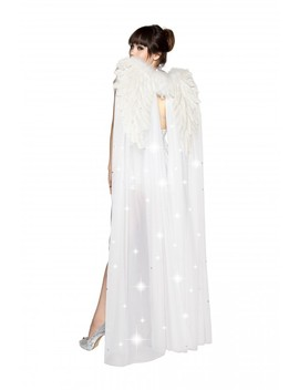 White Double Layer Wings With Rhinestones by Ami Clubwear