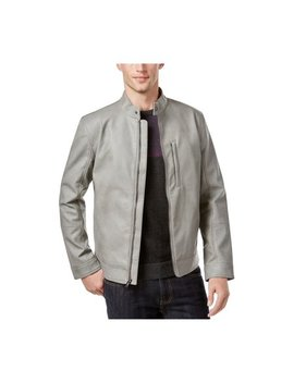 Alfani Mens Faux Leather Slim Bomber Jacket by Alfani