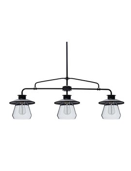 Globe Electric 64845 Nate 3 Light Pendant, Bronze, Oil Rubbed Finish, Clear Glass Shades by Globe Electric
