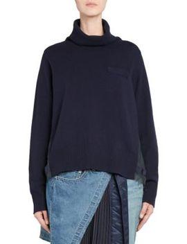 Plisse Back Wool Turtleneck Sweater by Sacai